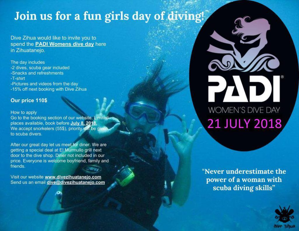 Click on the image to see it full size and learn about our event at Dive Zihua. We will accept reservation pass the date line.