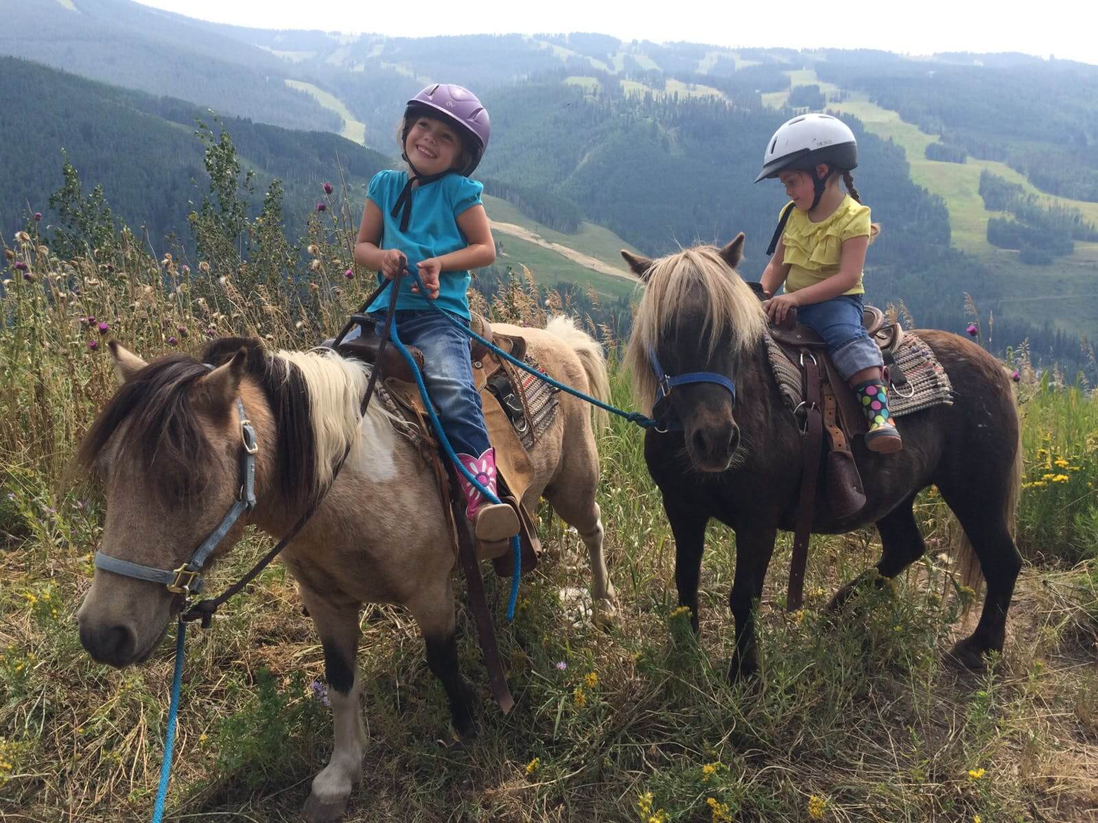 Two kids sitting atop their ponies